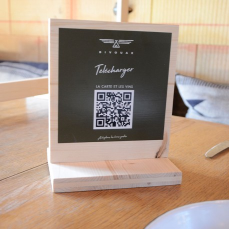 Carte de table bois QR code